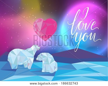 Galaxy and polar bears background for web banners flayers cards. I love you lettering. Heart.