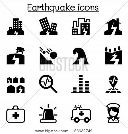 Earthquake icon set  vector illustration graphic design