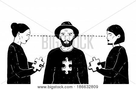 Concept of love triangle, difficult choice. Young guy and two girls with puzzle piece. Vector black and white hand drawn illustration