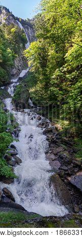 Very Large Panoramic View Of Beautiful Oltschibach Waterfall, Unterbach, Brienz Municipality , Switz