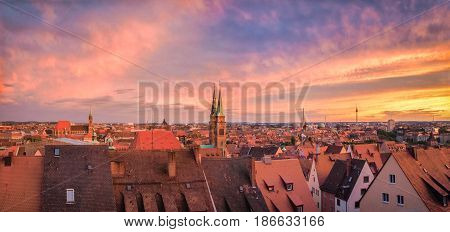 Nuremberg City Panorama At Sunset, Bavaria, Germany