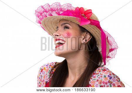 Brunette Brazilian girl wearing traditional costume for Junina Party