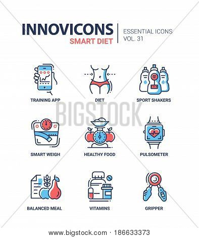 Diet - modern color vector single line icons set. Smart, training app, sport shakers, weigh, healthy food, pulsometer, balanced meal, vitamin, gripper, beauty, body, looks , lifestyle, apple, fruit