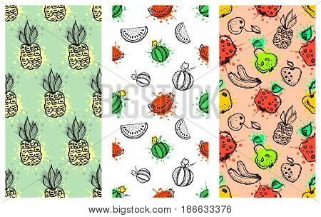 Set Of Seamless Vector Patterns. Hand Drawn Fruits Illustration Of Colorful Cherry, Apple, Pear, Wat