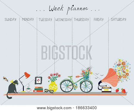 Weekly planner with cute design - home objects cat bicycle flowers music. Vector graphic illustration