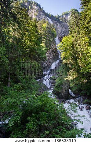 Beautiful Oltschibach Waterfall, Unterbach, Brienz Municipality , Switzerland
