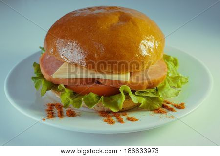 A large and tasty hamburger with a juicy piece of chicken, cucumbers, Korean carrots and cheese. On a plate with french fries.