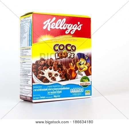 Bangkok Thailand - April 22 2017: A box of Coco Loop sweet breakfast cereal isolated on white.