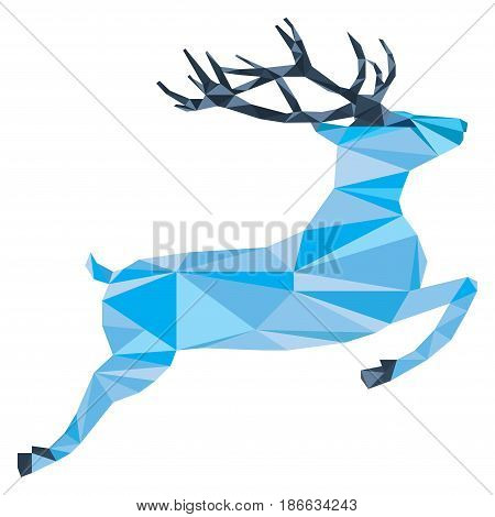 Purple deer of triangle shapes on a white background