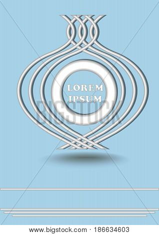 Silver metallic round logotype on light blue background, horizontal lines vector EPS 10