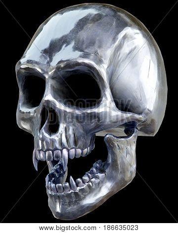 The vampire metal skull on dark background. 3d rendering.