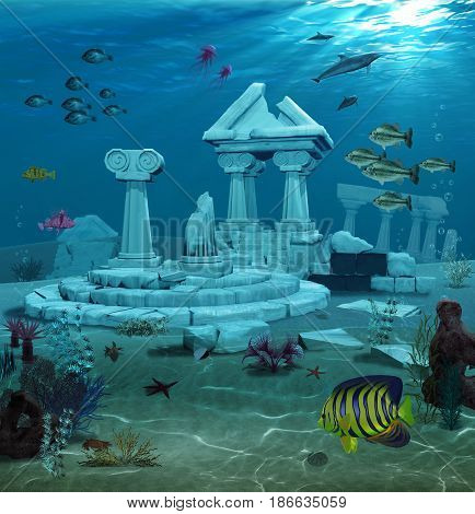 3d illustration of the sunken ruins of the ancient Atlantis civilization.