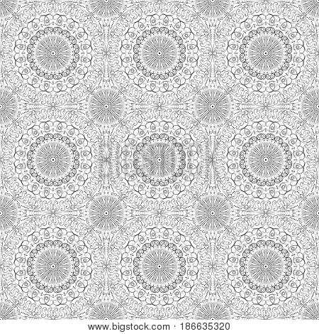Vector pattern seamless. Black-white ethnic ornament. Arabesque style