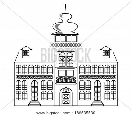 Old castle monochrome drawing, architectur sketch in black outline on white background, vector EPS 10