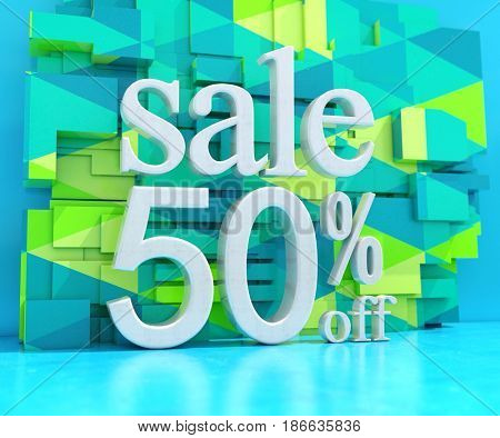 3d render: Art Blue Background with Lettering Sale 50% Off for Banner or Poster Discount Template, Retail Image