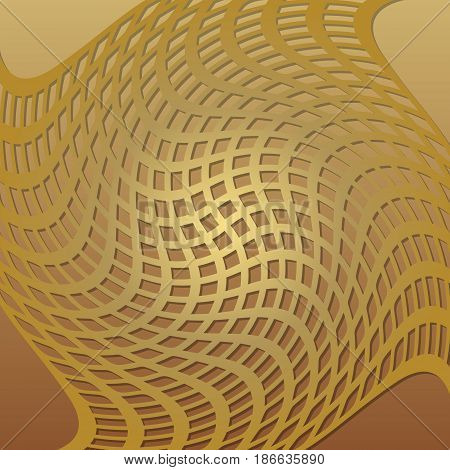 Optical art background with 3d illusion, deformed golden grid, low contrasting overlay tile, vector EPS 10