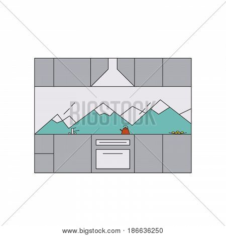 Kitchen interior in high-tech style. Interior design concept. Line vector illustration with kitchen set window oven kettle sink fruit.