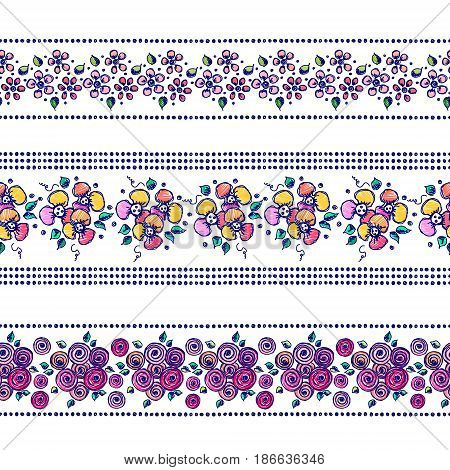 Set Of Seamless Vector Hand Drawn Floral Patterns, Endless Border, Frame With Flowers, Leaves. Decor