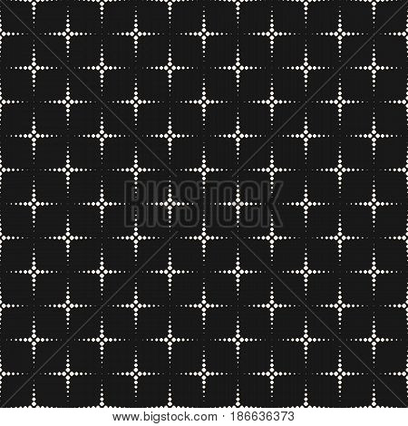 Vector monochrome seamless pattern, simple geometric texture with small dots flash, stippling halftone crosses. Abstract repeat background. Modern dark design for decor, prints, covers, digital, web