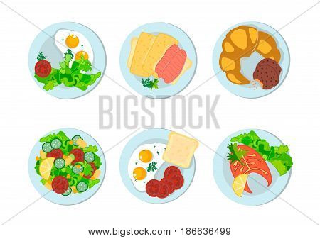 Breakfast different peoples of the world. Italian, English, French, Russian Breakfast. Vector illustration