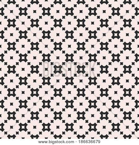 Vector geometric seamless pattern, monochrome texture with smooth perforated crosses and squares, staggered grid, repeat tiles. Simple modern abstract background. Design element for prints, decor, web, textile, fabric, cloth