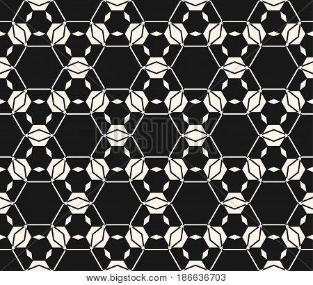 Lace vector texture, subtle seamless pattern. Abstract monochrome delicate background, hexagonal lattice, angular geometric shapes, thin lines. Dark design element for prints, covers, decoration, textile, stationery, web