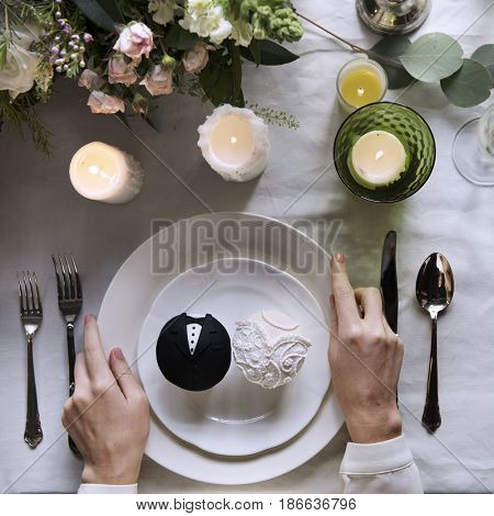Delicious Bride and Groom Cup Cakes Dessert Bakery Wedding Reception