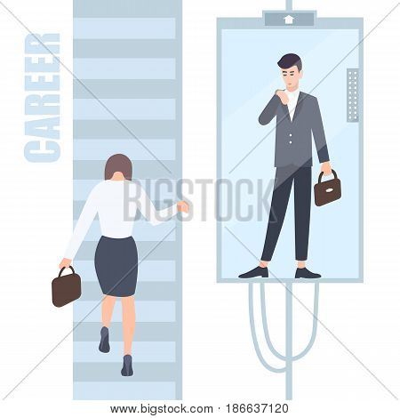 Gender inequality issues concept. Business woman and man climb the career ladder where different opportunities for males and females. Cartoon flat colorful illustration