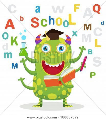 Successful Student. Funny Education Monster In White Background. Cartoon Vector Illustrations. Back To School Theme. Colored Letters Vector. Cartoon Monster Mascot.