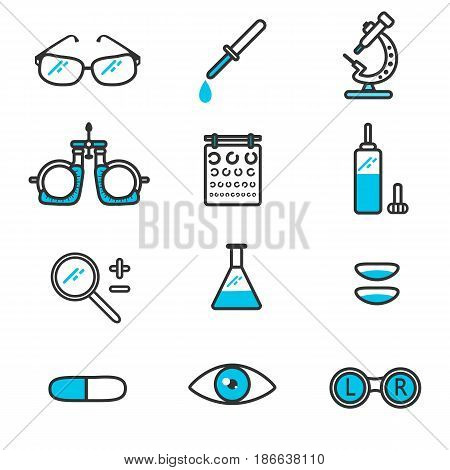 Optometric icons in linear style.Vector illustration on the theme of oftalmologii.Tools ophthalmologist for the diagnosis, vision correction.