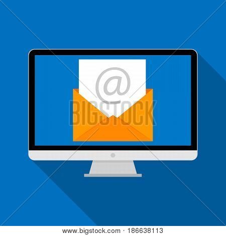 Computer with envelope icon. Email concept. Flat design