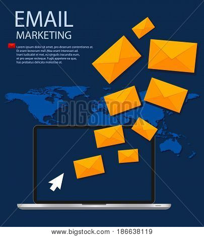 Email illustration. Sending or receiving email concept. Email marketing. Broadcast email.