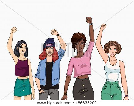 Feminism concept. Different young modern girls with hands up. Colorful illustration