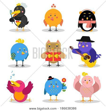 Cute cartoon birds with different emotions and situations, colorful characters vector Illustrations isolated on a white background
