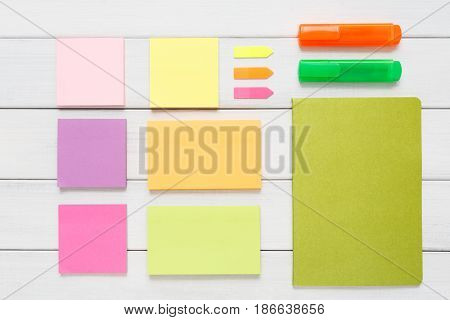 Flat lay of office and business stationery supplies, memo notes top view with copy space, nobody, objects