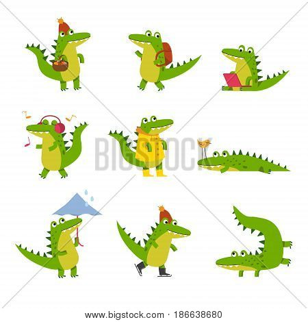 Cute cartoon crocodile in every day activities, colorful characters vector Illustrations isolated on a white background