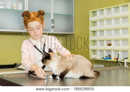 Cute Red Haired Girl Ausculting Cat With Stethoscope