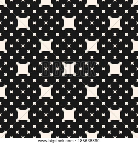 Vector monochrome seamless pattern. Simple dark minimalist geometric texture with big and small rounded squares. Abstract endless background. Stylish design for prints, decor, digital, cloth, textile