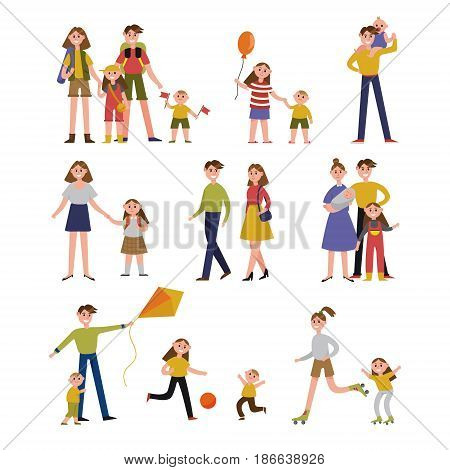 Family activity and leisure. Family set colorful characters with parents and children vector Illustrations isolated on a white background