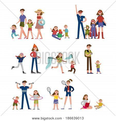Happy moments in family life, activity and leisure. Family set colorful characters with parents and children vector Illustrations isolated on a white background