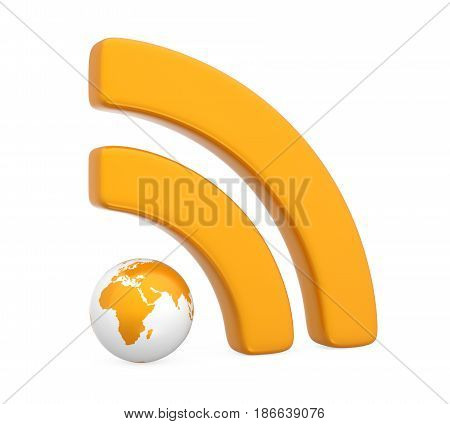 RSS Symbol with Globe isolated on white background. 3D render