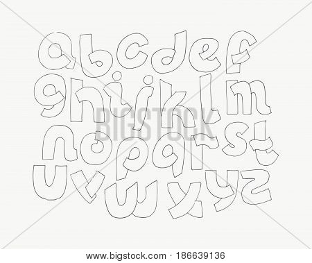 2d hand drawn alphabet letters from A to Z in simple rounded style. Decorative calligraphy font good for writing quotes and titles. Parts of letters overlap each other. Monochrome letters collection