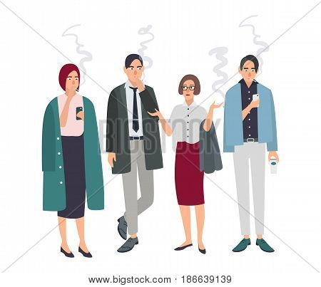 Smoking room. Different office people on smoke break. Man and woman with cigarettes. Vector illustration in flat style