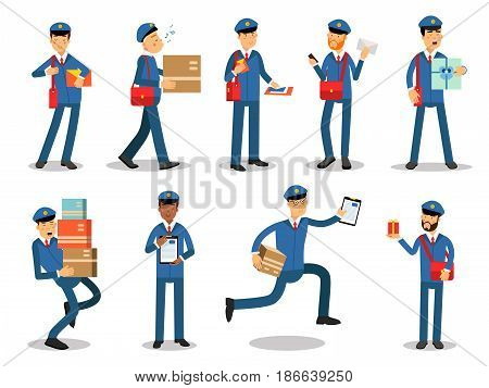 Postman characters doing their job set. Cheerful mailmen in different situations cartoon vector Illustrations isolated on white background