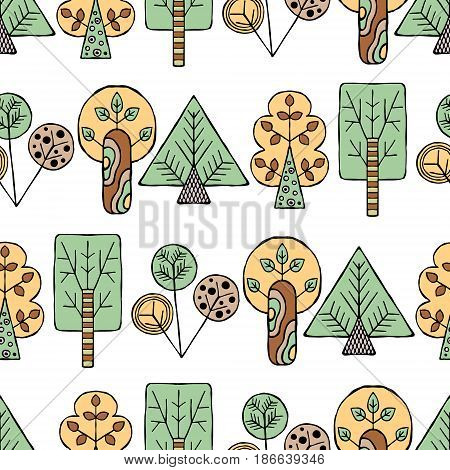 Vector Hand Drawn Seamless Pattern Decorative Stylized Childish Trees Doodle Style, Tribal Graphic I