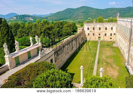 Catajo castle euganean hills area panoramic view courtyard