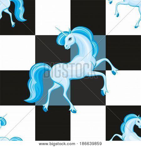 Blue Unicorn Seamless Pattern.eps