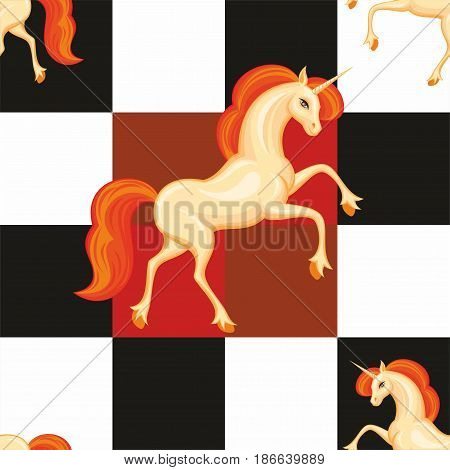 Orange Unicorn Seamless Pattern.eps