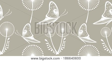 Seamless Vector Pattern With Dandelions, Butterflies. Graphic Drawn Illustration. Floral Decorative