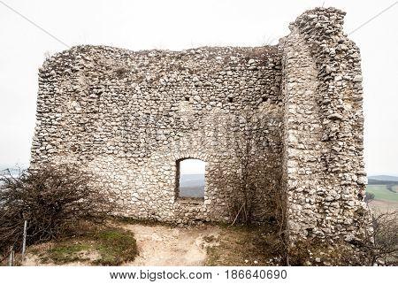 ruins of Sirtoci hradek castle in Palava mountains near Mikulov city in South Moravia in Czech republic